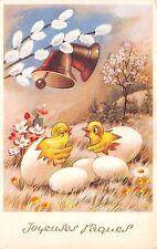 AK Ostern Küken in Eierschahle mit Klocken Postkarte Belgien