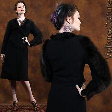 SALE Vintage Antique 20s Goth Wrap Dress Jacket Blk Wool Tweed Real Fur Tassel L