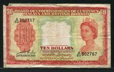 Malaya & British Borneo 1953, 10 Dollars, 302767, P3, VG-Fine
