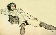 Egon Schiele Drawing Reproductions: Female Nude Reclining - Fine Art Print