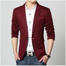 Luxury Blazer Men Spring Fashion Brand Quality Cotton Slim Fit wine red