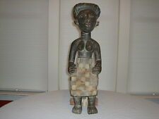"AFRICAN STATUE ~ FEMALE SITTING ON STOOL ~ Wood W/Natural Pigment ~ 27"" Tall"