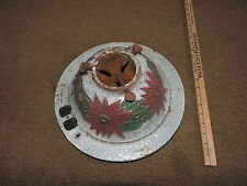 VTG Cast Iron Christmas Tree Stand RED & GREEN Poinsettia NEEDS REWIRING 1920'S