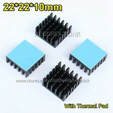 10pcs 22x22x10mm Aluminum Heat Sink With Blue Thermal Adhesive Heat Transfer Pad