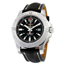 Breitling Colt 44 Automatic Black Dial Black Leather Mens Watch