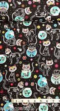 Cat Skeletons Fabric, fat quarters,100% cotton C4159 from Timeless Treasures