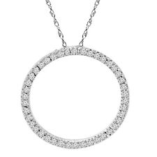 .65Ct Circle Of Life Round Diamond Pendant 10K White Gold