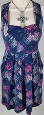 KIMCHI BLUE ANTHROPOLOGIE Size XS 0 2 MULTICOLOR NAVY BLUE EMPIRE DRESS XSMALL
