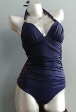 NWT Victorias Secret Forever One Piece Ruched Shaping Halter Swim Suit Navy S