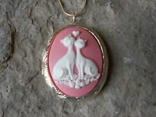 KITTY CAT (S) IN LOVE HEART CAMEO LOCKET - PINK - SILVER PLATED, QUALITY