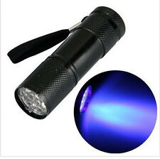 Aluminum UV ULTRA VIOLET 9 LED FLASHLIGHT BLACKLIGHT Torch Light Lamp Light  A