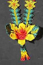 HUICHOL FLOWER NECKLACE MEXICAN NATIVE SPIRITUAL NIERIKA JEWELRY FOLK ART CRAFT