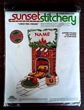 Vintage Stocking Kit Sunset Stitchery CHRISTMAS FIRESIDE Crewel Embroidery NIP