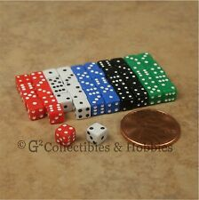 NEW 5mm 50 Opaque Mini Dice Set RPG Game Miniature 3/16 inch Tiny D6 - 5 Colors