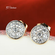 18K WHITE YELLOW GOLD GF SWAROVSKI CRYSTAL HALF BALL ROUND STUD EARRINGS