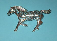 Horse Pin Brooch Silver Tone Crystal Accents Hair Tail Running New