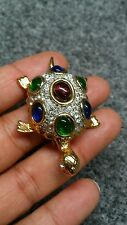 Stunning vintage faux emerald faux diamond gripoix turtle gold tone pin brooch