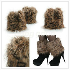 new Boot Cuff Fluffy Soft Furry Faux Fur Leg Warmers leopard