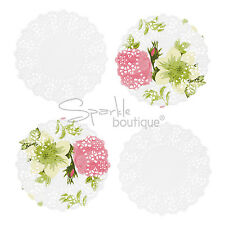 100x MINI FLORAL & WHITE DOILIES - Doilys/Doily- Wedding/Party Table Decoration