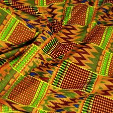 African Print Kente Cloth Fabric Per Yard, Wax Dyed, Green Red Blue Yellow