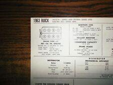 1963 Buick Invicta Electra & Riviera 401 CI V8 SUN Tune Up Chart Super Shape!