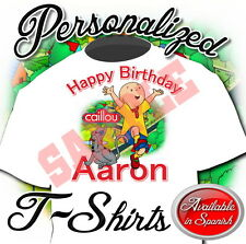 NEW CUSTOM PERSONALIZED CAILLOU BIRTHDAY T SHIRT PARTY ADD NAME