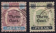 PERAK 1900 3c o/p on 8c and 3c o/p on 50c Isc#82&83 Used @T140