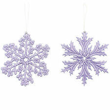 2 Christmas Party Elegant LILAC Snowflakes Hanging Tree Ornaments Decorations
