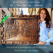 """41"""" Wood carved picture 3D The Old City paiting-panel-icon-orthodox-art-oil"""