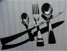 Stainless Steel 24 Pieces Black Cutlery Set Steak Knife Fork Spoon Teaspoon