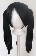 18'' Pig Tails w/ Part, Long Bangs Natural Black Wig Cosplay NEW