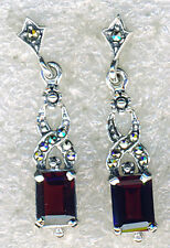 925 Sterling Silver Marcasite & Garnet Drop / Dangle Earrings   Length 1.1/4""