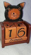 Calendrier Perpetuel en forme de chat en bois , décoration intérieure original