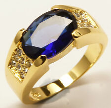 Men's 10 carat Gold Filled simulated Sapphire Blue Ring Jewellery UK Size T