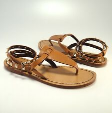 New Valentino Cognac Brown Gold Rockstud Leather Thong Sandals 36.5 6.5 #832