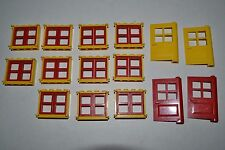 LEGO Big lot Windows Door Matching Thin Yellow Frame Red Pane City House ADEL