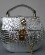 Handtasche Leder Tasche Damentasche edel  Leder Drew Style Italy silber NEU