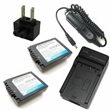 Charger + 2x Battery Pack for Panasonic Lumix DMC-FZ7 DMC-FZ8 DMC-FZ18 DMC-FZ28