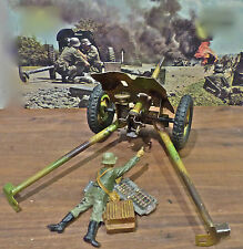 Scarce-Camouflaged PAK Cannon+Soldier w/Shell-2 Pcs-Elastolin-Hausser-Lineol