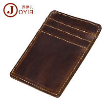 Men Leather Vintage Slim Thin Wallet ID Credit Card Holder Money Clip Pocket