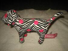 NWT  VICTORIA SECRET PINK ZEBRA PINK POLKA DOT STUFFED PLUSH BLACK N WHITE DOG