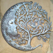 """Metal Tree of Life with Moon Wall Art Hanging Decoration Ideas Contemporary, 24"""""""