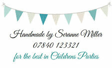 260 Personalised Labels / Address / handmade by / cards/ Bunting Design