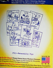 """Aunt Martha's Hot Iron On Transfer # 3743 """" Personality Pigs"""""""