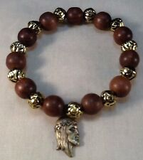 Religious Bracelet 12mm Wood & Gold Tone Beads Jesus Christ Medal