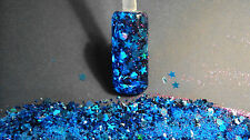 glitter mix acrylic gel nail art           SAPPHIRE SURRENDER