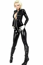 New Style Latex Catsuit Long Sleeve Front Zipper Bodysuit Halloween Black Costum