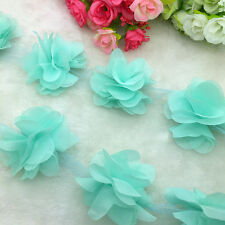 New Hot 1 Yard Cyan Flower Chiffon Wedding Dress Bridal Fabric Lace Trim