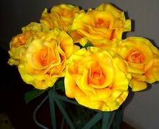 "Real Touch Pu Yellow/ Orange Open  Style Blooms Roses  Lot 6 Total 3"" Rare !"