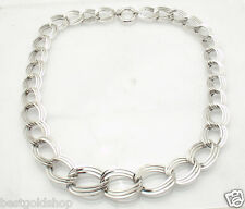 """18"""" Graduated Triple Oval Link Chain Necklace Real 14K White Gold QVC 17.4 gr"""